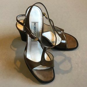 Nordstrom Brown All Leather Strapped Heels Size 8
